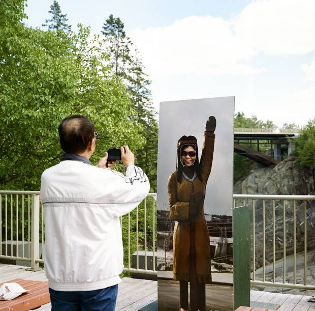 Grand Falls, N.B.: The passengers take photos at the waterfalls that give the town its name.