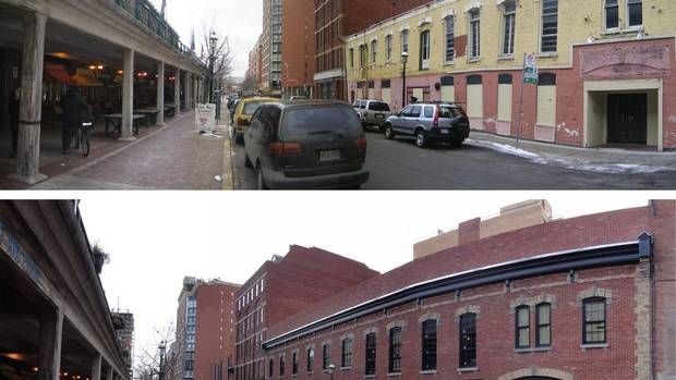 Before: The yellow-painted brick front of the historic Armoury Hotel in the middle of Toronto's Market Street had seriously deteriorated as it had stood empty for more than a decade. (Woodcliffe Landmark Properties)