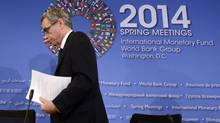 Canada's Finance Minister Joe Oliver departs a press briefing during the IMF/World Bank 2014 Spring Meetings in Washington April 11, 2014. (MIKE THEILER/REUTERS)