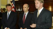 A former Goldman Sachs banker allegedly made undisclosed cash donations to the election campaign of Massachusetts state treasurer Tim Cahill (shown in a 2003 file photo). (JIM BOURG/REUTERS)