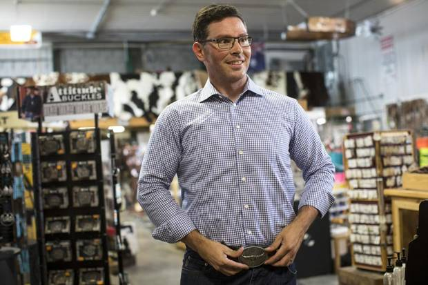 Doug Schweitzer, leadership candidate for Alberta's united conservative party,at Irvines western store near Crossfield, Alta.