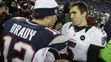 Baltimore Ravens quarterback Joe Flacco, right, talks to New England Patriots quarterback Tom Brady following the NFL football AFC Championship football game in Foxborough, Mass., Sunday, Jan. 20, 2013. The Ravens defeated the Patriots 28-13 to advance to Super Bowl XLVII. (Steven Senne/AP)