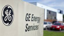The sign at the entrance to a General Electric Co. facility is seen in Medford, . (BRIAN SNYDER/REUTERS)