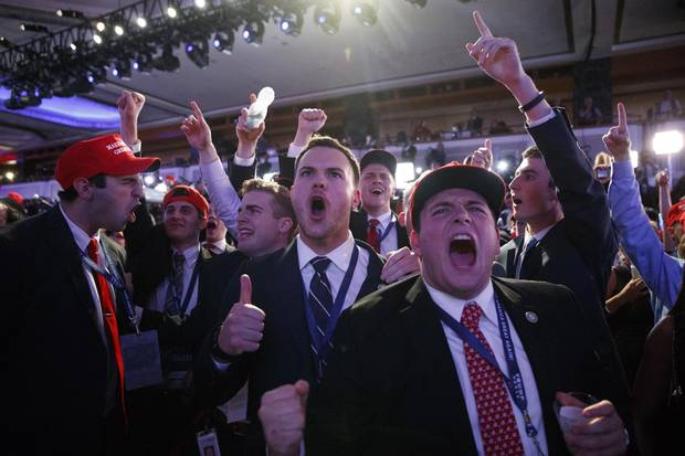 Trump supporters cheer as they watch election returns at a rally in New York on Nov. 9, 2016.