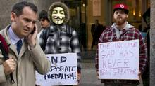 Occupy Toronto supporters demonstrate on King Street in Toronto on Oct. 17, 2011. (Kevin Van Paassen/Kevin Van Paassen / The Globe and Mail)