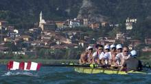 Canadian Mens 2012 Olympic Eight training in Erba, Italy The names go from right to left starting with the coxswain Brian Price steering the boat on the right and then Will Crothers in stroke seat. Brian Price (Belleville, Ont.), Will Crothers (Kingston, Ont.), Jeremiah Brown (Cobourg, Ont.), Byrnes (Toronto), Malcolm Howard (Victoria), Conlin McCabe (Brockville, Ont.), Rob Gibson (Kingston, Ont.), Doug Csima (Oakville, Ont.) and Gabe Bergen (100 Mile House, B.C.). If you notice the Maple Leafs are not on the oars yet. The only time a crew rows with the leafs is at a World Championships or Olympics. Once the team gets to London all the leafs get put on as a symbol that a special race is coming. (kevin light/Kevin Light)