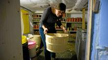Louise Hanavan in her basement root cellar in Halifax. (Sandor Fizli for The Globe and Mail/Sandor Fizli for The Globe and Mail)