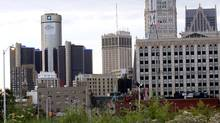 Downtown Detroit, including the General Motors World Headquarters is pictured from a vacant lot along Woodward Avenue in Detroit, Michigan in this July 21, 2013, file photo. (REBECCA COOK/REUTERS)