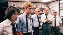 From left: Dustin Hoffman, Robert Redford, Jason Robards, Jack Warden and Martin Balsam in All the President's Men (1976). (AP)
