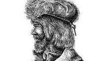 A detail from an artist's rendering of David Thompson. There are no known portraits of the man.