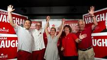 Trinity-Spadina MPP Han Dong left, Trinity-Spadina MP Adam Vaughan, Ontario Premier Kathleen Wynne, MPP Marie-France Lalonde and MP John McCallum at a rally at Vaughan's campaign office. Vaughan credits Dong's win in the provincial election for helping him win the recent by-election. (Galit Rodan/The Canadian Press)