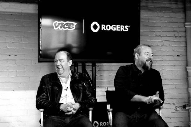 Laurence sports a motorcycle jacket to announce a partnership with Vice Media CEO Shane Smith.