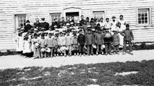 Fort Providence residential school, children and staff (Sacred Heart Parish/NWT Archives)