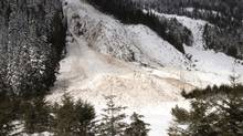 Snow from an avalanche is seen near B.C.'s Coquihalla Highway in this March 23, 2012, photo. (BC Transport Ministry)