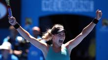 Eugenie Bouchard of Canada celebrates after defeating Ana Ivanovic of Serbia during their quarterfinal at the Australian Open tennis championship in Melbourne, Australia, Tuesday, Jan. 21, 2014. (Aaron Favila/AP)