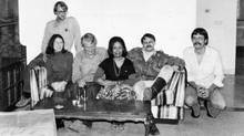 Photo taken by Canadian John Sheardown in his Tehran living room during the three months in which he and his wife, Zena, hid four of the six American fugitives. From left to right: Americans, Mark Lijek, Cora Lijek, Robert Anders, Canadian Zena Sheardown, Canadian Roger Lucy (First Secretary of the Canadian Embassy in Iran) and American Lee Schatz. (CBC)