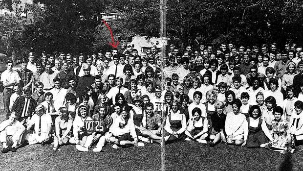 Mr. Brylla, then in Grade 12, is shown in a group yearbook photo from Laguna Beach High School.