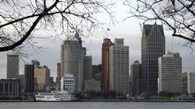 The skyline of Detroit, Michigan is seen from Windsor, January 4, 2012. Saddled with crippling debt, mounting labor costs, and onerous union contracts, the city that paved the auto industry's success is in need of a bailout of its own. Picture taken January 4, 2012. (Rebecca Cook/Reuters)