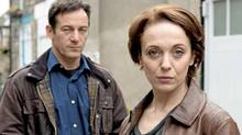 Jason Isaacs as Jackson Brodie and Amanda Abbington as DI Louise Munroe in Masterpiece Mystery's Case Histories. (Steffan Hill/BBC)