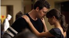 Finn (Cory Monteith) and Rachel (Lea Michele share a moment in an episode of Glee. (FOX)