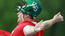 A helmet of the Saskatchewan Huskies is seen in this file photo. (DAVE CHIDLEY/THE CANADIAN PRESS)