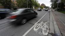 The bike lane on Jarvis St. in Toronto photographed on Oct. 6, 2010. (Fred Lum/Fred Lum/The Globe and Mail)