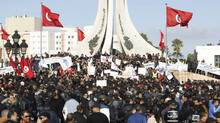 Tunisian police officers and security personnel demonstrate in Tunis on Jan. 31, 2013. (ZOUBEIR SOUISSI/REUTERS)