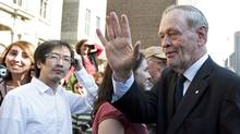 Former prime minister Jean Chretien greets the public after the state funeral for late NDP leader Jack Layton at Roy Thomson Hall in Toronto on Aug. 27, 2011. (Darren Calabrese/THE CANADIAN PRESS)