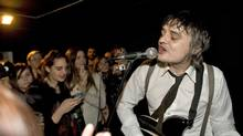 Pete Doherty plays at his new art exhibition, Pete Doherty on Blood, private view at the Cob Gallery, London, Feb. 25, 2012. (Martin Pope/Martin Pope)