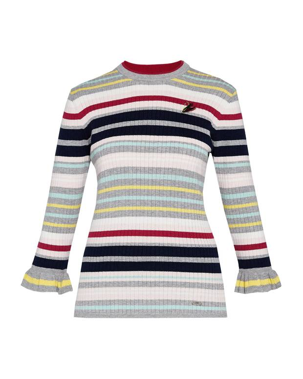 Xasti striped knitted top, $199 at Ted Baker (tedbaker.com).