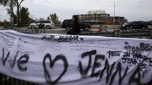 A memorial on Nov. 14, 2011, for pregnant cyclist Jenna Morrison, who was killed after being struck by a truck at Sterling and Dundas in Toronto. (Michelle Siu for The Globe and Mail)
