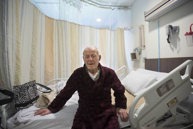 Ilias Spanidis, 88, is shown in his room at Markham Stouffville Hospital. Mr. Spanidis has been at the hospital for a month, and the hospital is trying to get him discharged, but his son Tom Spanidis, doesn't believe he's ready.
