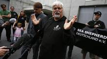 Sea Shepherd founder paul Watson talks to media and friends after he was released from custody in Frankfurt on May 21, 2012. (KAI PFAFFENBACH/REUTERS)