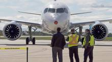 Bombardier's C-S100 taxis in after its maiden test flight at the company's facility Monday, September 16, 2013 in Mirabel, Que. (Ryan Remiorz/THE CANADIAN PRESS)