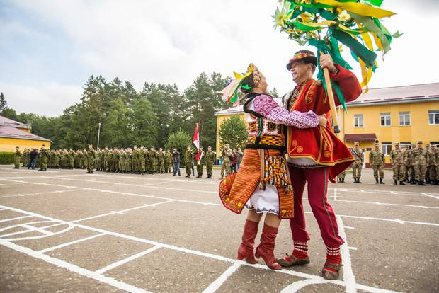 A dance ensemble from Ukraine's Defence Ministry performs at the opening ceremonies for Operation Unifier, a Canadian training mission for Ukrainian soldiers.