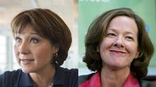 Premiers Christy Clark of B.C. and Alison Redford of Alberta. (John Lehmann and Chris Bolin/The Globe and Mail/Special to The Globe and Mail)