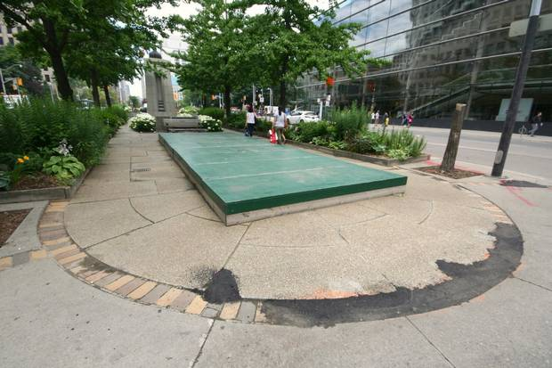 The Big Green Box of Shame on Island B makes Dave LeBlanc cringe almost every time he passes the plywood entombed fountain.