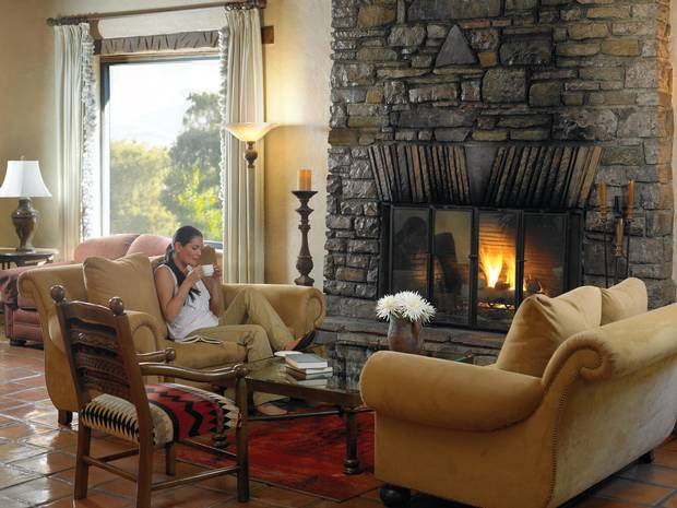 Relaxing in a living room at Canyon Ranch.