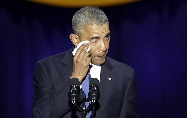 U.S. President Barack Obama cries as he speaks in Chicago on Jan. 10, 2017.