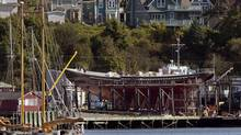 The rebuilding of the Bluenose II is over budget and two years behind schedule, with no prospect of sailing any time soon. (Andrew Vaughan/THE CANADIAN PRESS)