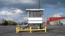 "A detail from the John Massier photograph ""parking lot guard tower"" (John Massier)"