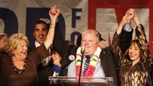 Mayor-elect Rob Ford being greeted by his supporters and making his speech at theToronto Congress Centre in Toronto on October 25, 2010, after winning the election. Mom, Diane, is left and wife Renata is right. (Peter Power/The Globe and/Peter Power/The Globe and Mail)