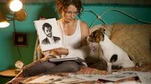 Lara Jean Chorostecki and canine friend in Please Kill Mr. Know It All. (Kelly Kruschel)