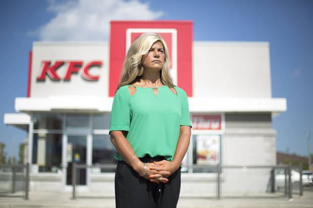 Kathy Wilkes, a former Second Cup franchisee, is an outspoken critic of the company. She stands in front of a KFC location where her Second Cup once stood in Hamilton, Ont.