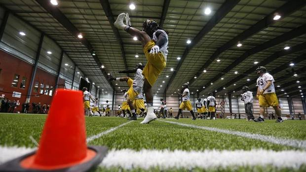 The Hamilton Tiger-Cats run through stretching drills during their indoor practice in Moose Jaw, November 22, 2013. The Hamilton Tiger-Cats will play the Saskatchewan Roughriders in the CFL's 101st Grey Cup in Regina November 24, 2013. (TODD KOROL/REUTERS)