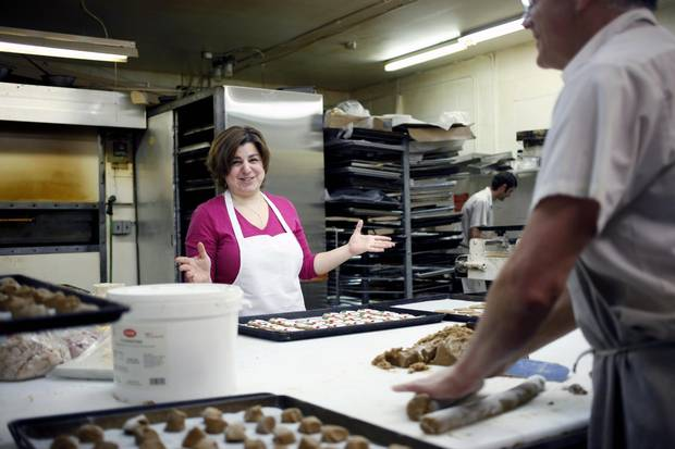 Rania Nassar talks about her job while at work at Steiner Bakery.