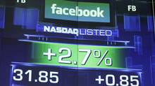 The pre-market price for Facebook stock is shown, Wednesday, May 23, 2012 at the Nasdaq in New York. Facebook stock rose in early trading, although still far below the $38 it was priced at before its initial public offering. (Mark Lennihan/Mark Lennihan/AP)
