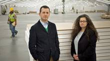 Matthew Slotover, left, and Amanda Sharp, organizers of the Frieze Art Fair, on Randalls Island in New York, April 24, 2012. The London-based Frieze Art Fair, bringing its distinctive brand of arts entertainment to New York, opens this weekend. (MICHAEL NAGLE/MICHAEL NAGLE / NYT)