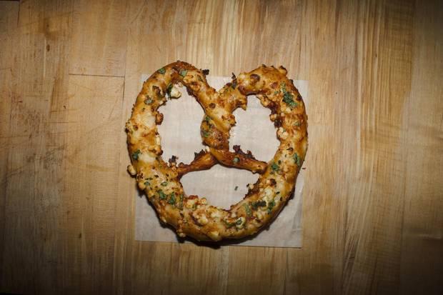 The guajillo and feta pretzel.
