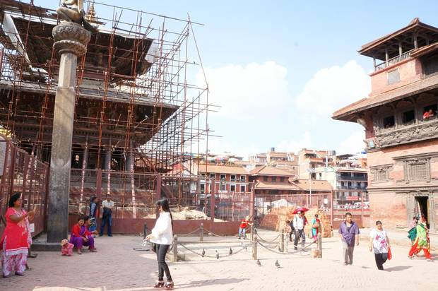 Some structures in Patan Durbar Square, a UNESCO World Heritage Site in Kathmandu Valley, are still under reconstruction after they were damaged in the 2015 earthquake.